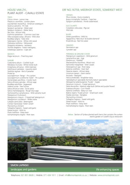 Cavalli Estate - Plant Audit