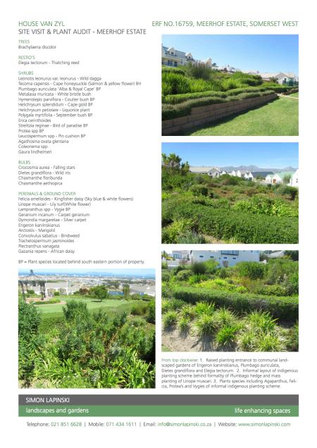 Meerhof Residential Estate - Site Visit & Plant Audit